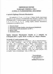 Obwieszczenie Zarządu Osiedla NR 2