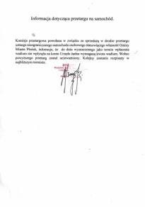 Zakończenie przetargu ustnego nieograniczonego na samochód osobowy stanowiący własność Gminy Miasto Płońsk