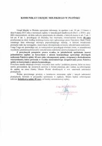 Komunikat Urzędu Miejskiego w Płońsku